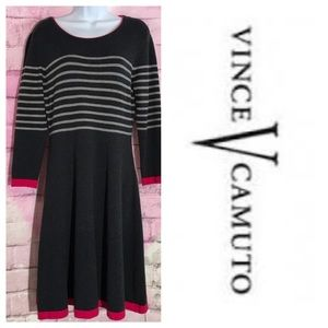 Vince Camuto Grey Striped Sweater Dress Small